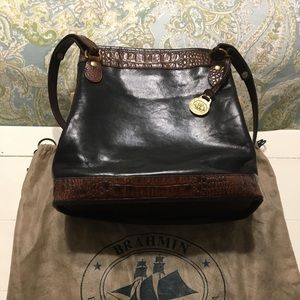 Brahmin Classic Croc Leather Trim Handbag
